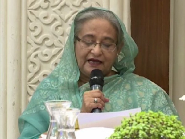 Bangladesh Prime Minister Sheikh Hasina addressing an interactive session of the World Economic Forum in New Delhi on Thursday
