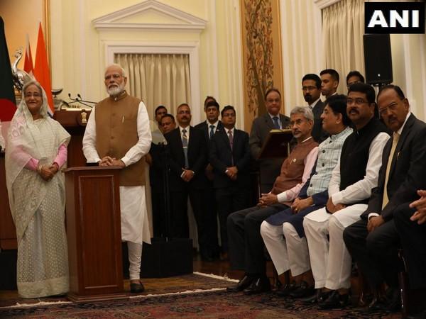 Bangladesh Prime Minister Sheikh Hasina with Prime Minister Narendra Modi in New Delhi on Saturday. Photo/ANI