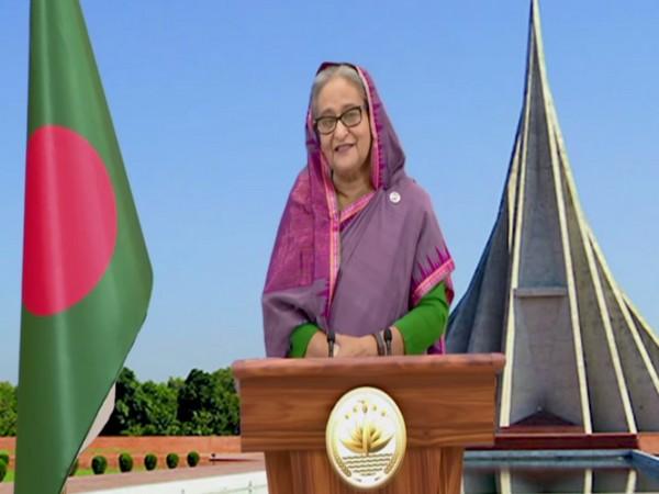 Bangladesh Prime Minister Sheikh Hasina speaking at the inaguration ceremony of Maitri Setu on Tuesday (ANI)