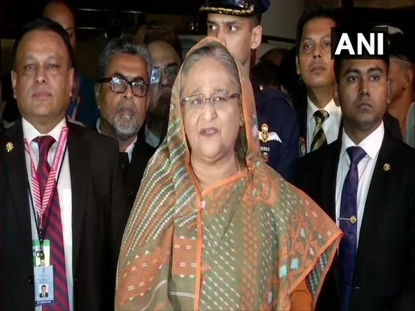 Bangladesh Prime Minister Sheikh Hasina addressing media persons in Kolkata on Friday.