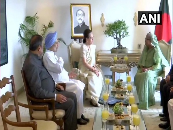 Bangladesh Prime Minister Sheikh Hasina with Congress leaders on Sunday in New Delhi. Photo/ANI