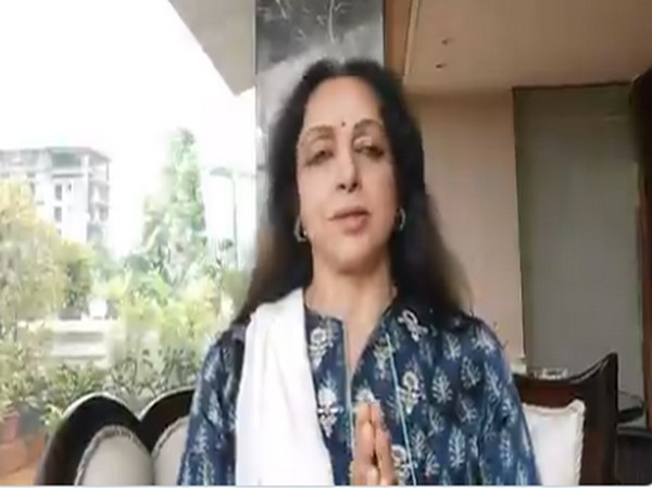 A still from the video message shared by evergreen actor Hema Malini (Image source: Twitter)