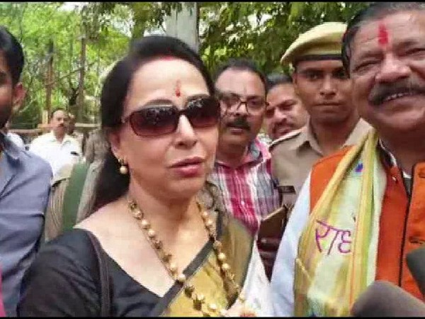 BJP MP Hemal Malini speaking to media persons ahead of filing her nomination from Mathura on Monday. Photo/ANI