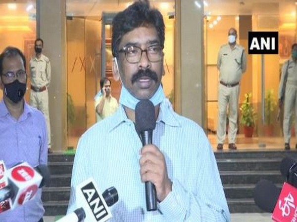 Jharkhand Chief Minister Hemant Soren speaking to reporters on Friday. Photo/ANI