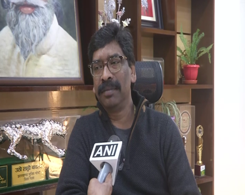 Jharkhand Chief Minister Hemant Soren speaking to ANI in Ranchi on Monday [Photo/ANI]