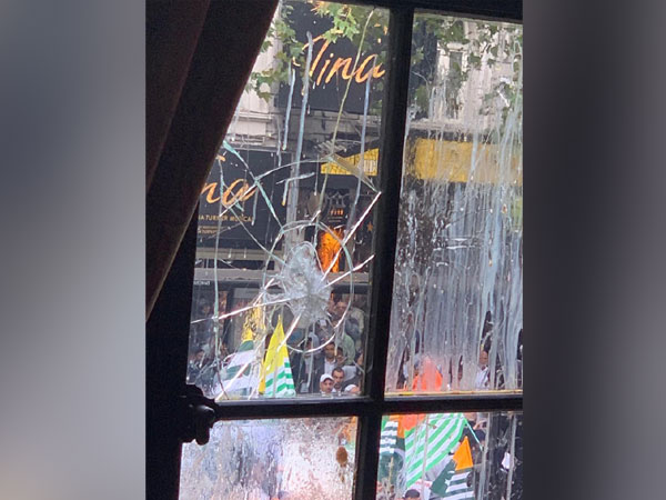 The smashed windowpane of the Indian High Commission in London. (File photo)