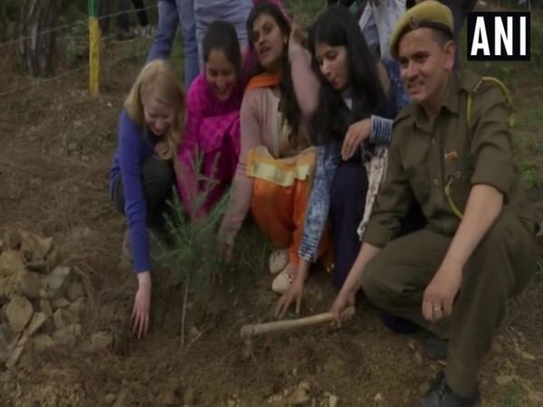 Over two hundred differently-abled students participated in a plantation drive dedicated to late Sushma Swaraj. Photo/ANI