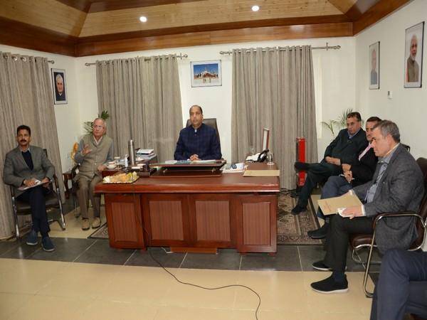 Himachal Pradesh Chief Minister Jai Ram Thakur interacting through video conference. Photo/ANI