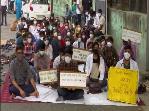 Filed photo of doctors' protesting against non-payment of salaries