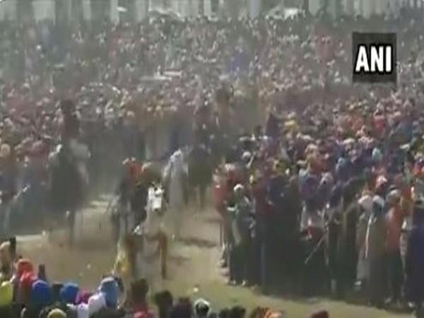 A view of 'Hola Mohalla' festival at Sri Anandpur Sahib on Tuesday. Photo/ANI