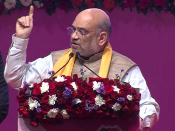 Home Minister Amit Shah speaking at an event of GTU in Gandhinagar, Gujarat, on Saturday. Photo/ANI