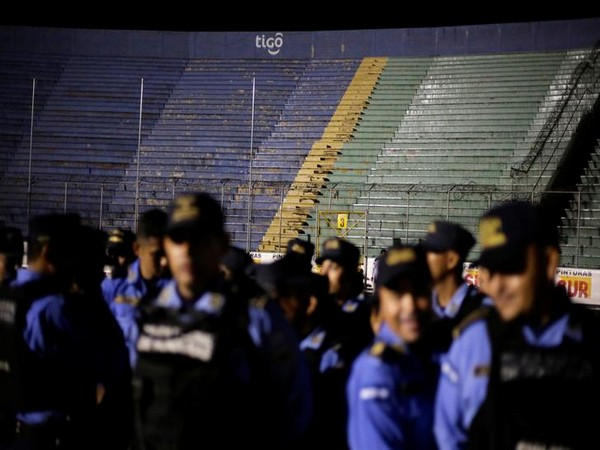 Police officers inside the National Stadium in Tegucigalpa on Saturday