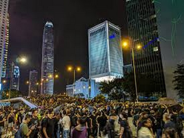 An anti-government protest in Hong Kong.