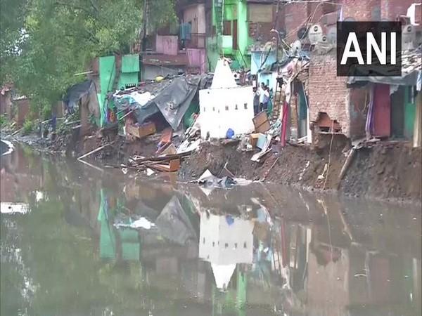 A house collapsed in Delhi's Anna Nagar due to heavy rainfall on Sunday. Photo/ANI