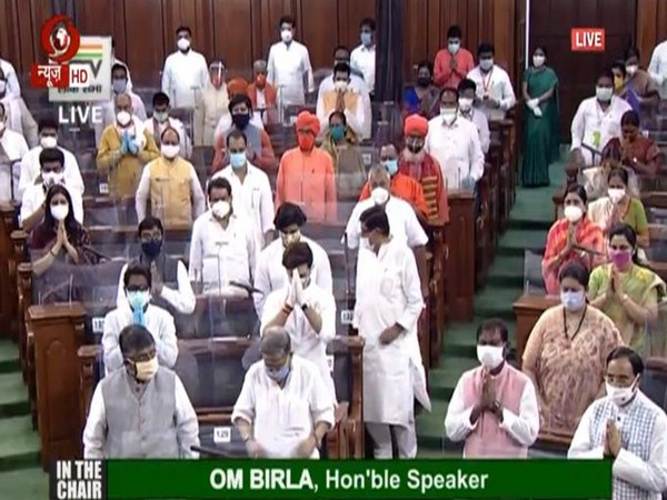 Visuals from Lok Sabha on Monday.