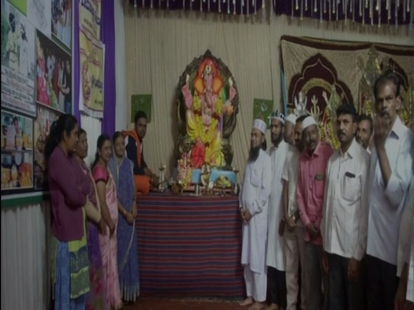 Hindus and Muslims celebrating Ganesh Chaturthi and Muharram together. Photo/ANI