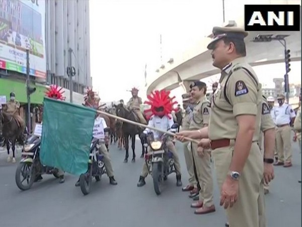 Hyderabad Traffic police organised an awareness rally on COVID-19 on Tuesday.