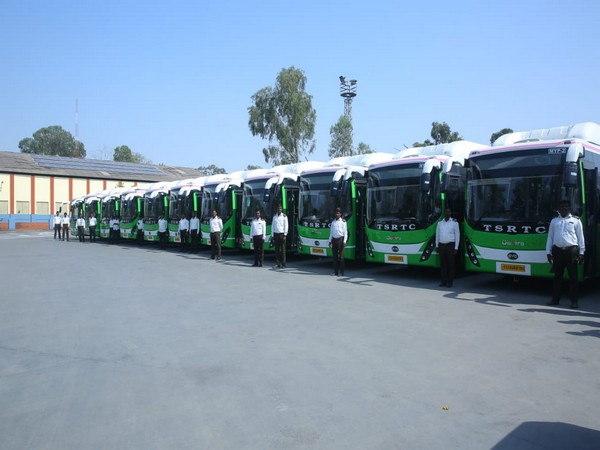 40 Electric buses inducted into fleet of TSRTC at Hyderabad on Tuesday