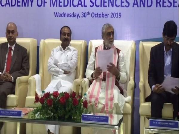 Union Minister Ashwini Kumar Choubey during a seminar at Kamineni Hospital and Medical College in Hyderabad on Wednesday. Photo/ANI