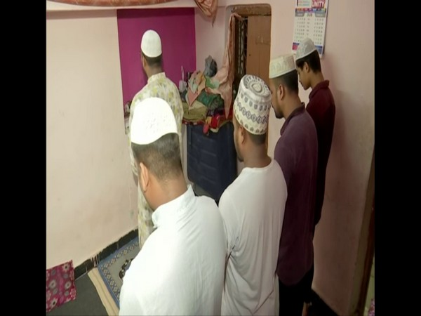 People offer prayers at home on first day of Ramzan in Hyderabad. Photo/ANI
