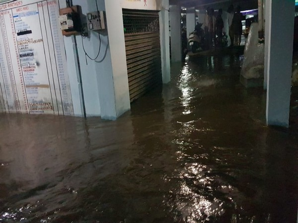 Rain water in basement of a residential building in Hyderabad on Wednesday. (Photo/ANI)