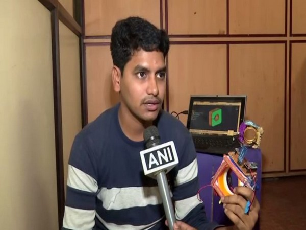 Gadi Harish, aged 23, has invented the device with the help of his friend. Photo/ANI