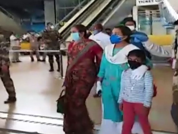 Colonel Santosh Babu's family arrives at Hyderabad Airport on Wednesday. Photo/ANI