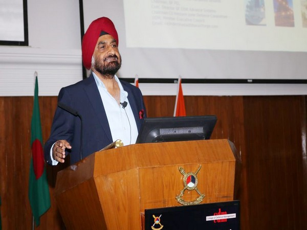 Rajinder Singh Bhatia, President and CEO of the Defence Aerospace Division, Kalyani Group addressing the officers of the Indian Armed Forces in Secunderabad. Photo/ANI