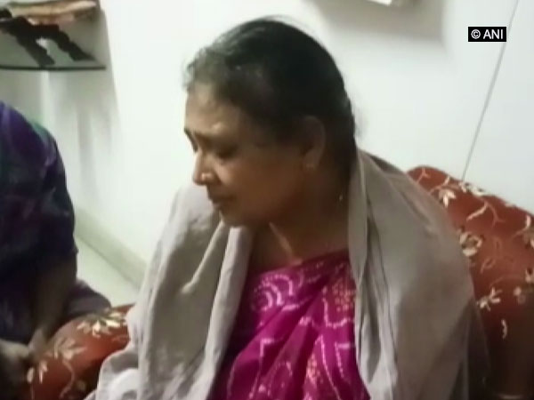 Tulsiram's mother Nalini at her residence in Hyderabad on Wednesday. Photo/ANI