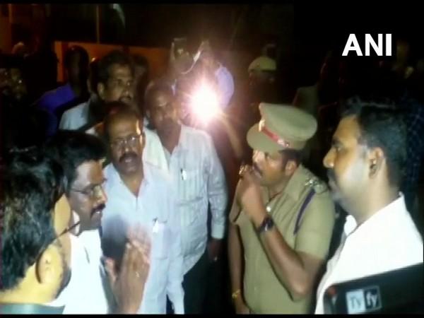 Income Tax officials conducting raids at DMK treasurer Durai Murugan's residence at Katpadi in Vellore. Photo/ANI