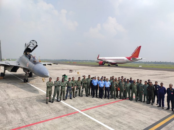Indian Air Force personnel at Netaji Subhash Chandra Bose International Airport on Wednesday. Photo/ANI