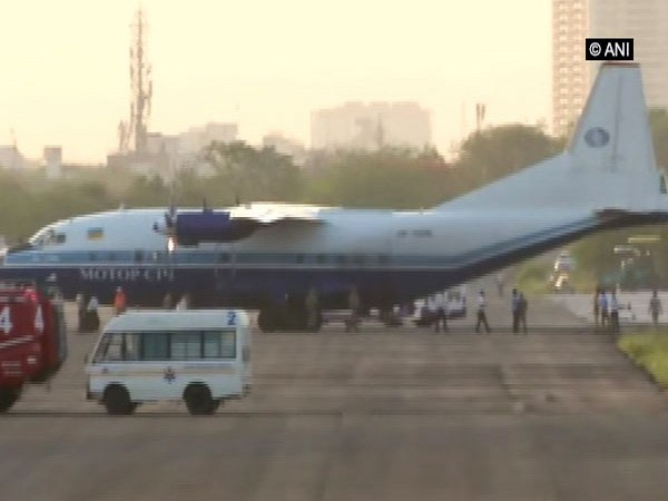The Antonov-12 cargo aircraft, which was forced to land at Jaipur air base. Photo/ANI