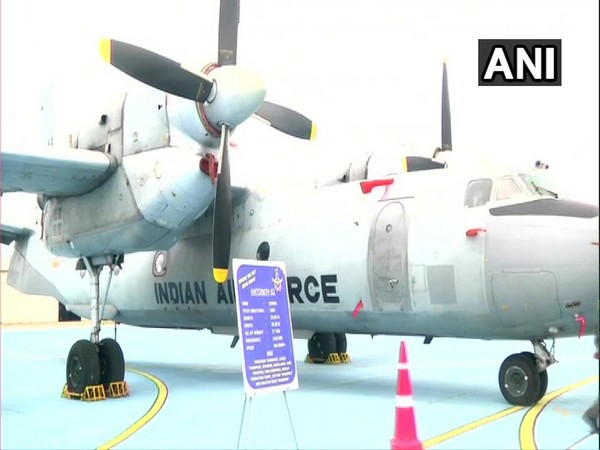 Indian Air Force's Antonov An-32 transport aircraft in display at the Sulur air force base in Coimbatore. Photo/ANI