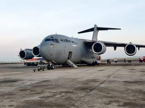 IAF aircraft at Chennai airport on Tuesday morning. (Photo/ANI)