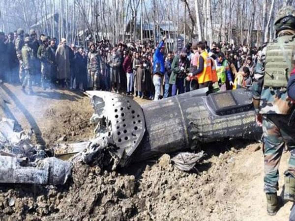 The debris of the crashed Mi-17V5 chopper in Budgam near Srinagar. Photo/ANI