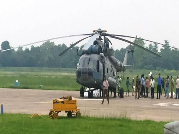 The Indian Air Force deploys two helicopters at Darbhanga to provide succour to flood-affected victims.