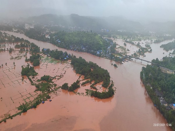 IAF carries rescue operations in flood-affected area.