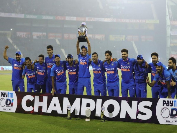 The Indian cricket team after winning the ODI series. (Photo/ ICC Twitter)