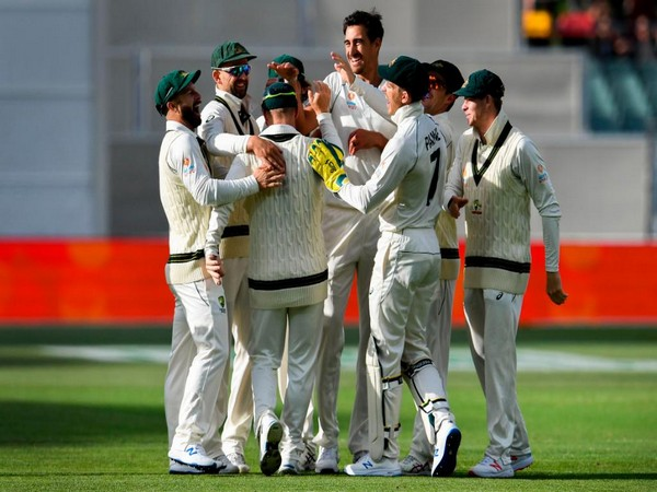 Australian players celebrating after taking a wicket. (Photo/ICC Twitter)