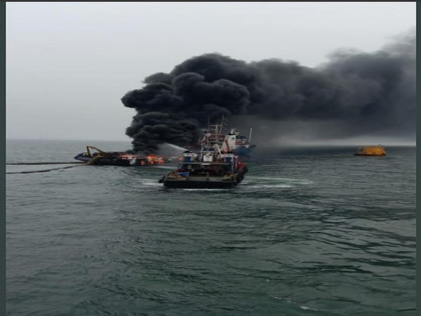 The offshore vessel Coastal Jaguar caught fire at 11.30 am on Monday. Photo/ANI