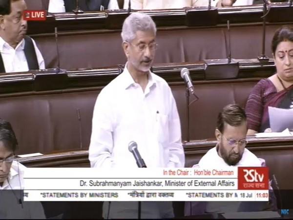 External Affairs Minister S Jaishankar while speaking in the Rajya Sabha on Thursday. (Photo/ANI)