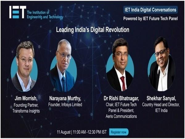 Speakers at IET India Digital Conversations on Leading India's Digital Revolution: Jim Morrish, NR Narayana Murthy, Dr Rishi Bhatnagar and Shekhar Sanyal