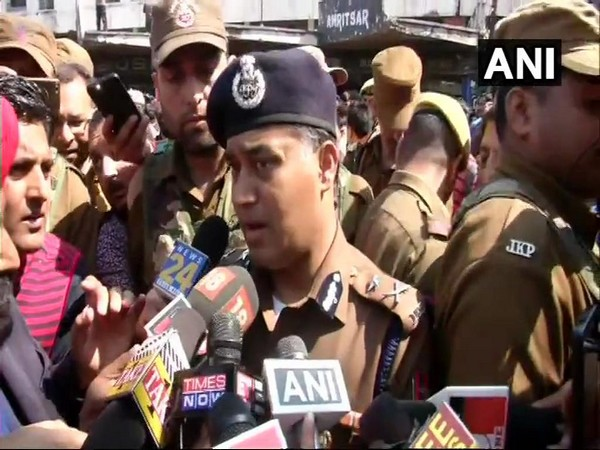 MK Sinha, Inspector General of Police, Jammu speaking to media persons from the grenade blast site