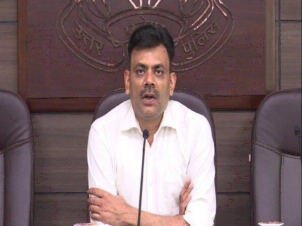 Uttar Pradesh Inspector General (Law and Order) Praveen Kumar addressing a press conference on Monday. Photo/ANI