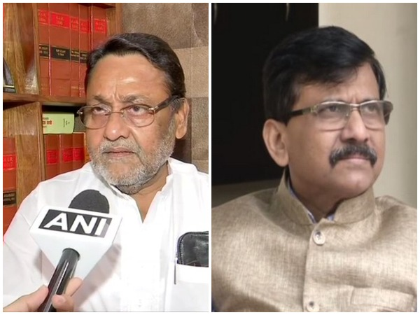 NCP chief spokesperson Nawab Malik (l) and Sena leader Sanjay Raut