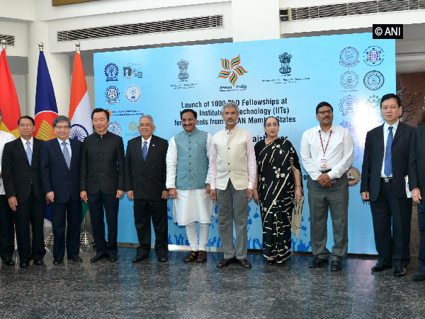 External Affairs Minister S Jaishankar and Human Resource Development Minister Ramesh Pokhyrial during the launch of PhD programme ASEAN students in New Delhi on Monday. Photo/ANI