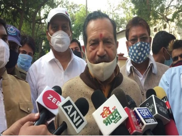RSS leader Indresh Kumar speaking to reporters in Indore on Saturday.