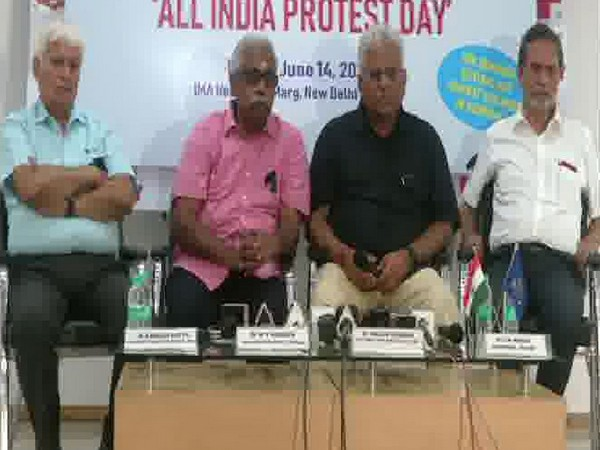 Office bearers of Indian Medical Association addressing a press conference in New Delhi on Friday. Photo/ANI