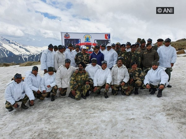 BSF personnel after performing yoga near LoC in Jammu and Kashmir on June 21. Photo/ANI