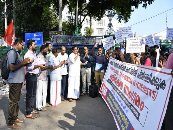Protest by members of the Kerala Government Dental Hygienists Association